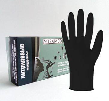 Черные нитриловые перчатки SitekMed   (100шт) Китай