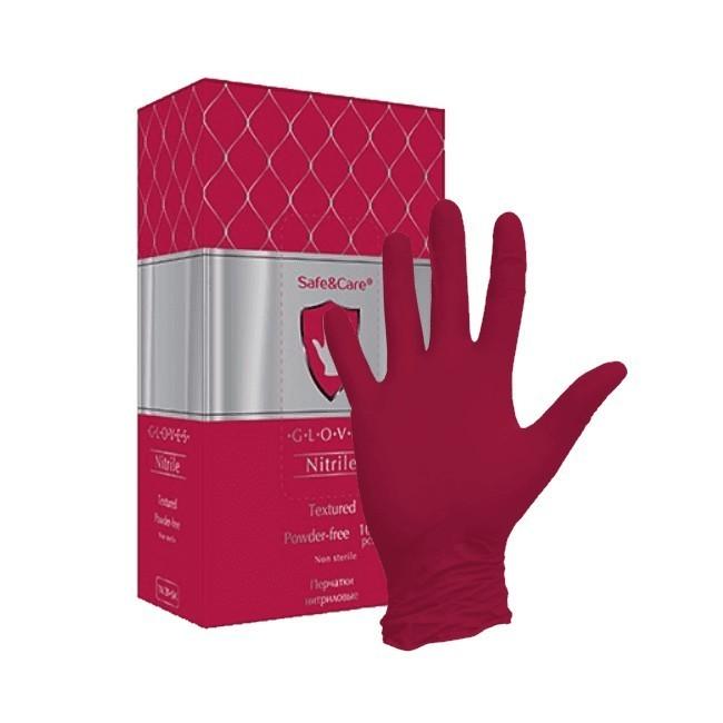 Красные нитриловые перчатки SAFE&CARE (100 шт) Малайзия
