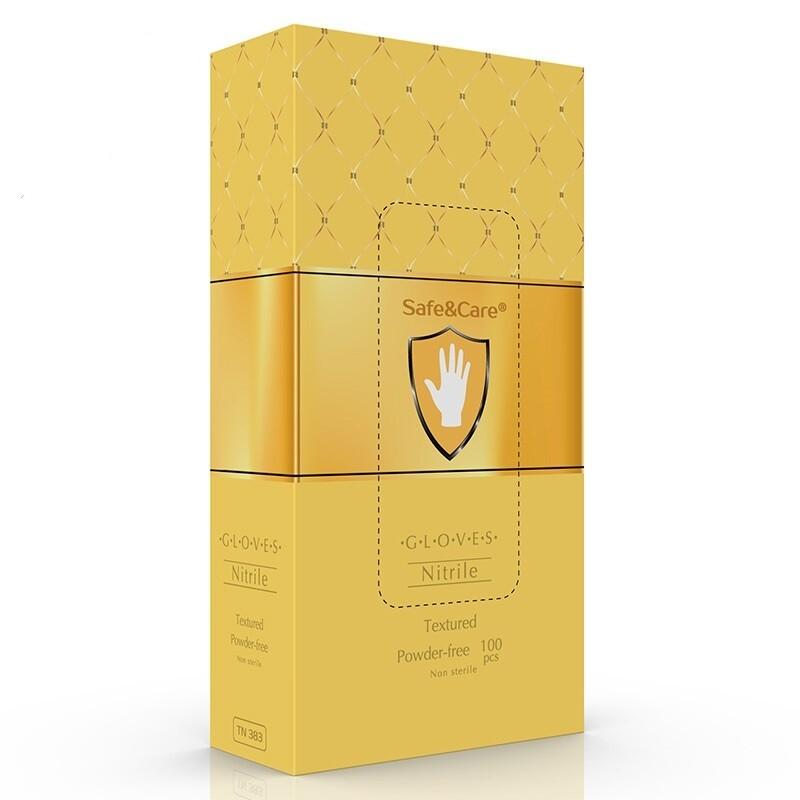 Золотые нитриловые перчатки SAFE&CARE (100шт) Малайзия