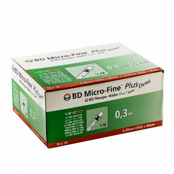 Шприц инсулиновый Микро Файн U-100 - 0,3 мл, игла 8mm (10 шт)