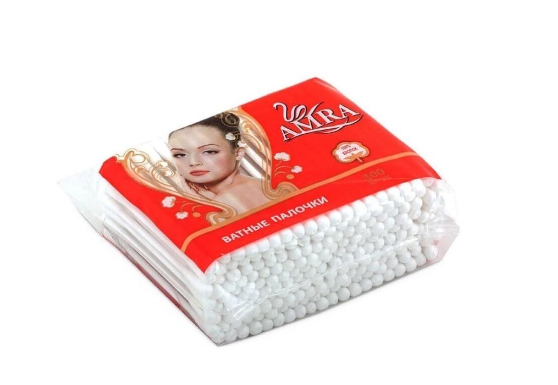 Ватные палочки AMRA упаковка по 200 штук (П/Э)