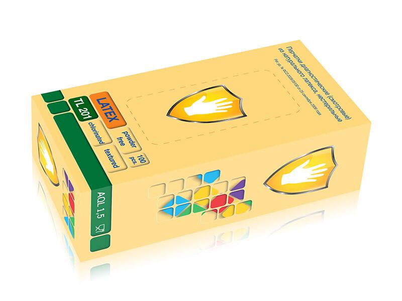 Перчатки латексные LATEX, текстурир., н/о, хлорированные (100шт)