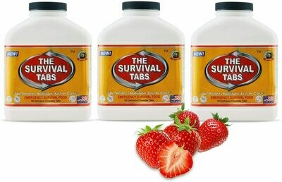 Deluxe Emergency 45-Days Food Supply (1 Person), 45-Days survival food meal ready to eat servings (3 x180 tabs bottles) 25-years shelf life none-GMO gluten-free (3 bottles/Strawberry)