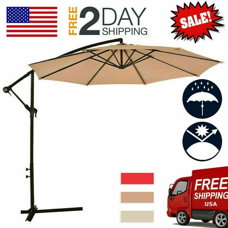 Patio Umbrella Offset 10' Hanging Umbrella Outdoor Market Beach Garden Umbrella
