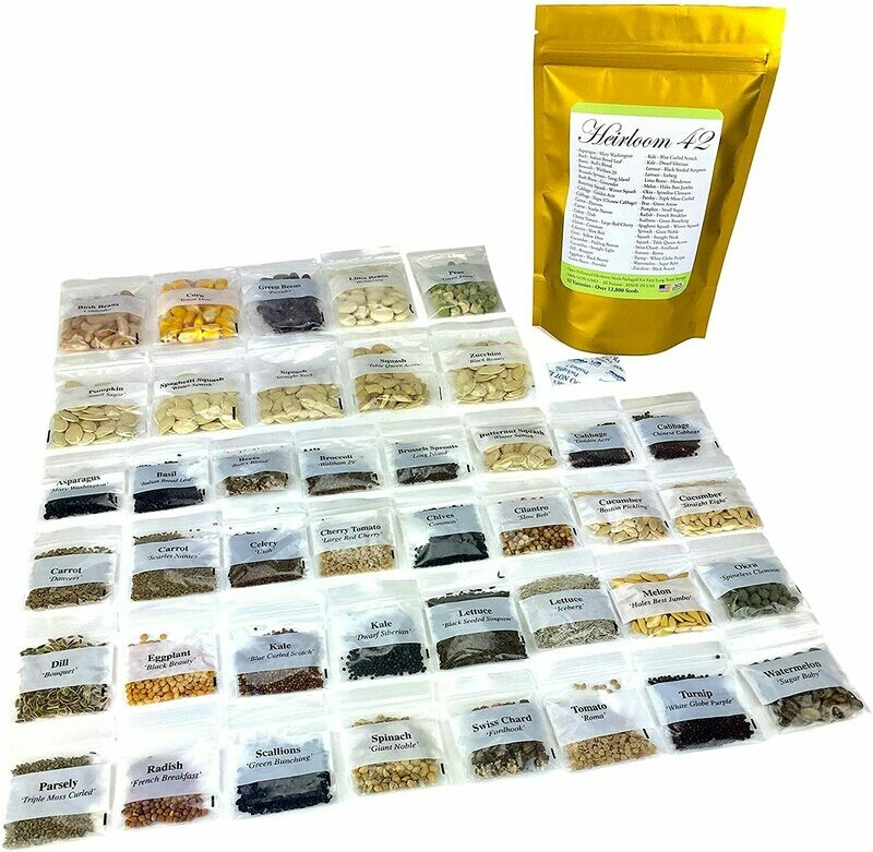 42 Varieties of Non GMO Open Pollinated Vegetable Seeds All Non-Hybrid