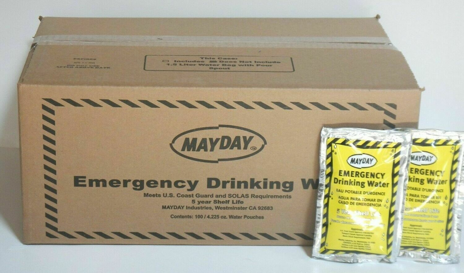 Emergency Drinking Water Case of 60 Pouches (4.2 oz.)ea. MAYDAY Survival WA44M