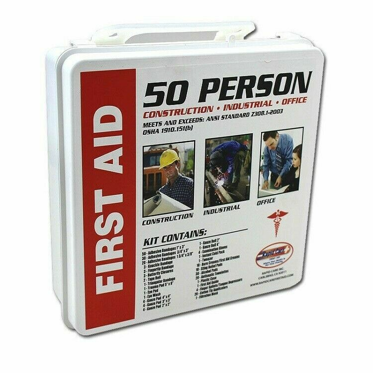 50 Person First Aid Kit 232pc OSHA ANSI Home Office Warehouse Construction NEW