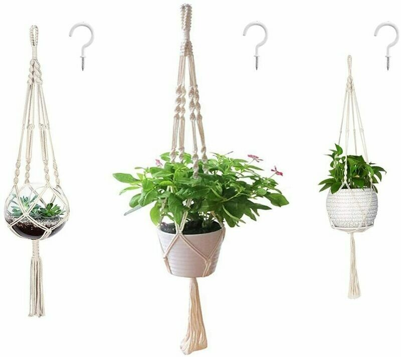 3 Pack Macrame Plant Hanger and 3 PCS Hooks Indoor Outdoor Hanging Plant Holder Hanging Planter Stand Flower Pots for Decorations - Cotton Rope, 4 Legs, 3 Sizes