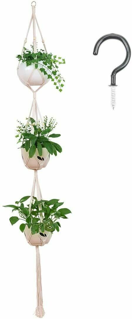"""3 Tier 80"""" Macrame Plant Hanger Indoor Outdoor Hanging Plant Holder Hanging Planter Stand Flower Pots for Decorations - Cotton Rope, 4 Legs"""