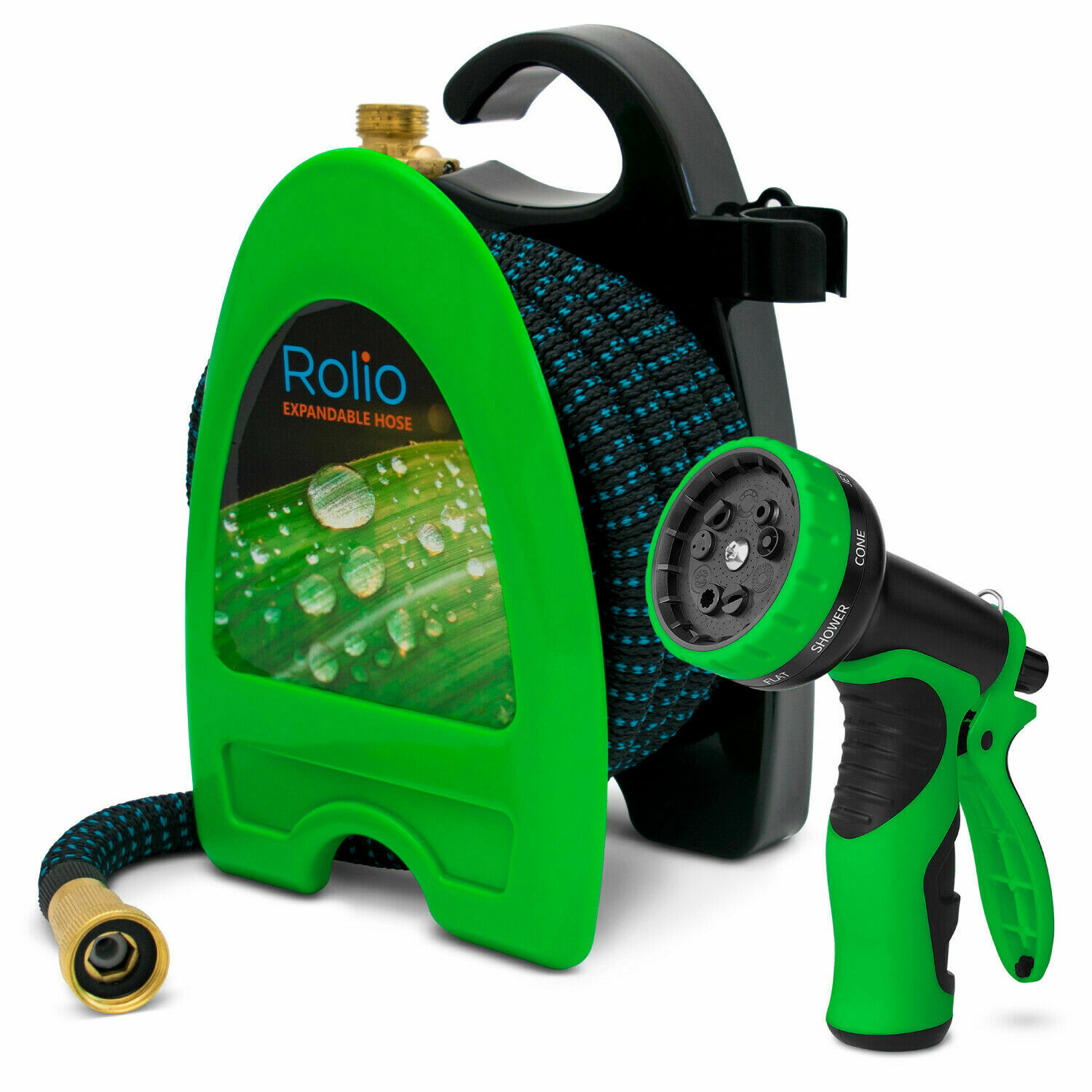 Rolio 50 Feet Expandable Garden Hose with 9 Function Nozzle Spray Includes Reel