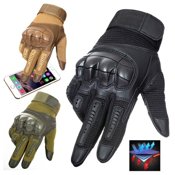 Tactical Rubber Hard Knuckle Full Finger Gloves Military Army Paintball Shooting Airsoft Bicycle Touch Screen PU Leather Gloves