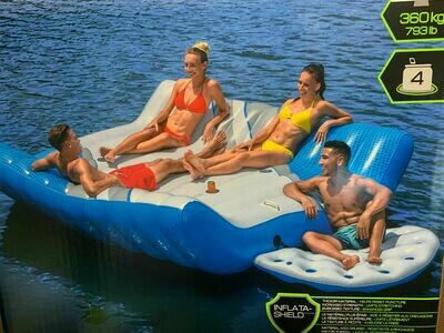 NEW HUGE GIANT INFLATABLE PACIFIC LOUNGE 4 PERSON ISLAND LAKE RIVER RAFT BOAT