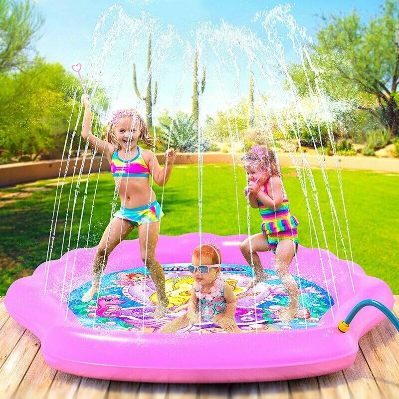 "Splash Pad for Girls, XL 78"" Outdoor Mermaid Children's Water Pad, Wading Pool & Sprinkler for Kids - Inflatable Kiddie Swimming..."