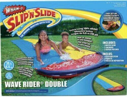 Wham-O Slip N Slide Wave Rider Double Backyard Water Slide Extra Long 18 Ft