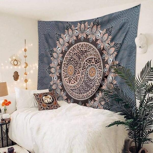 Mandala Flower Print Tapestry Art Print Tapestry Wall Hanging Decor Home Room Tapestry
