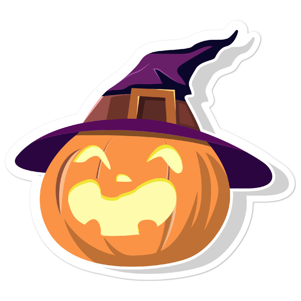 Witch Hat Pumpkin  Bubble-free stickers