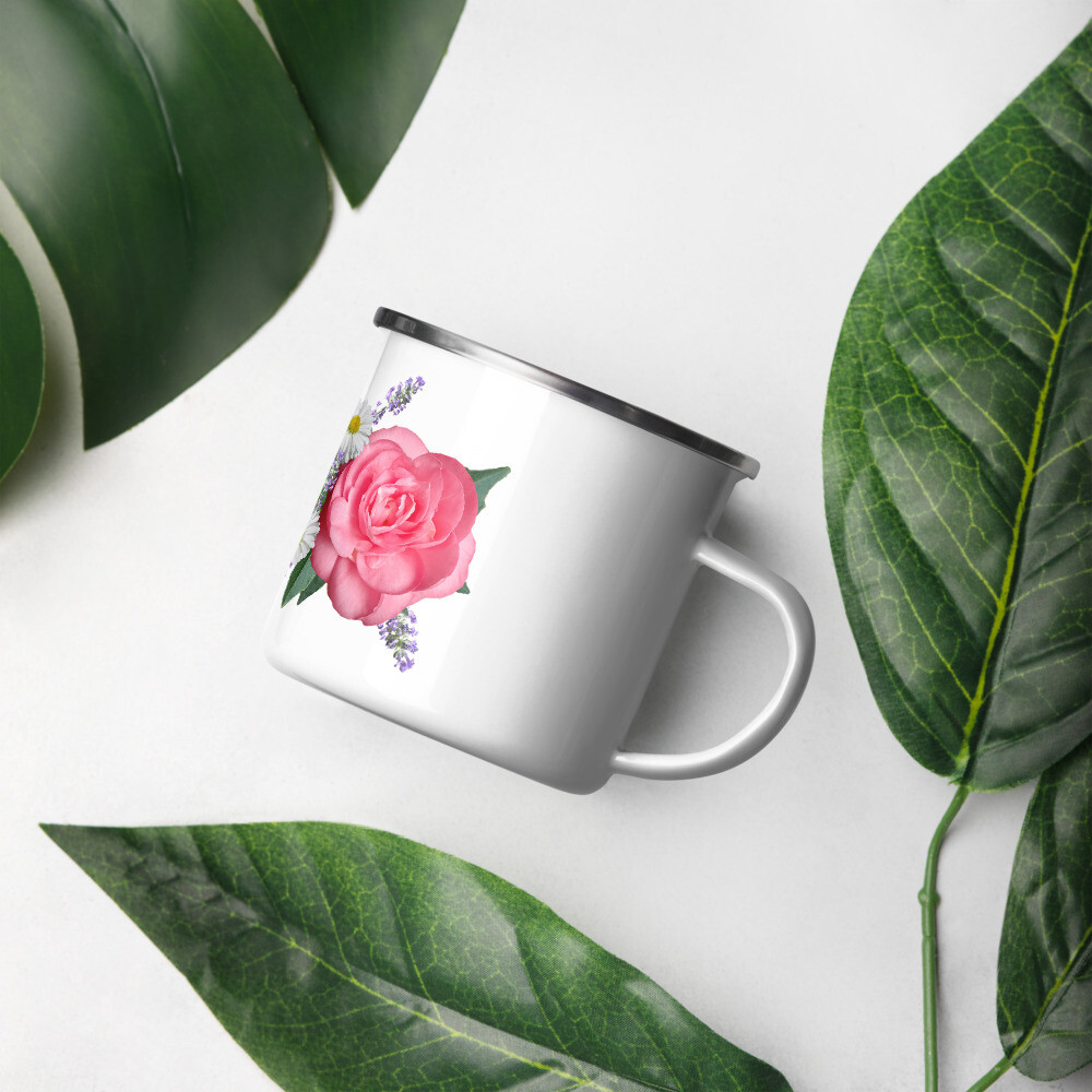 Rose Print Enamel Mug