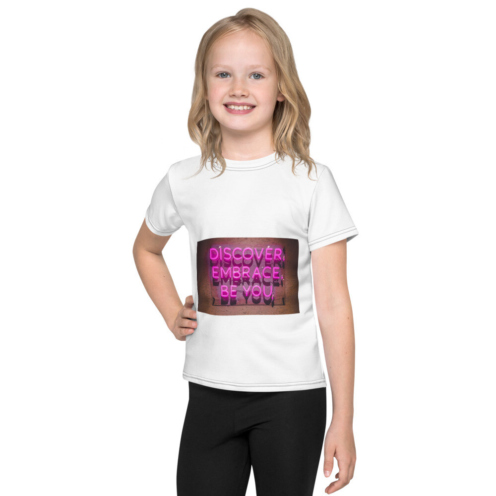 Discover Embrace Be You love spreading, positivity, mindfulness, Mental health perfect gift for any one any place and any ageKids T-Shirt