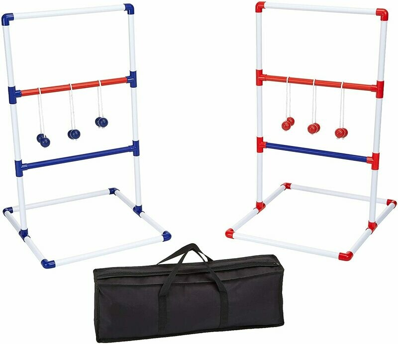 40 x 24 Inches Ladder Toss Outdoor Lawn Game Set with Soft Carrying Case -  Red and Blue