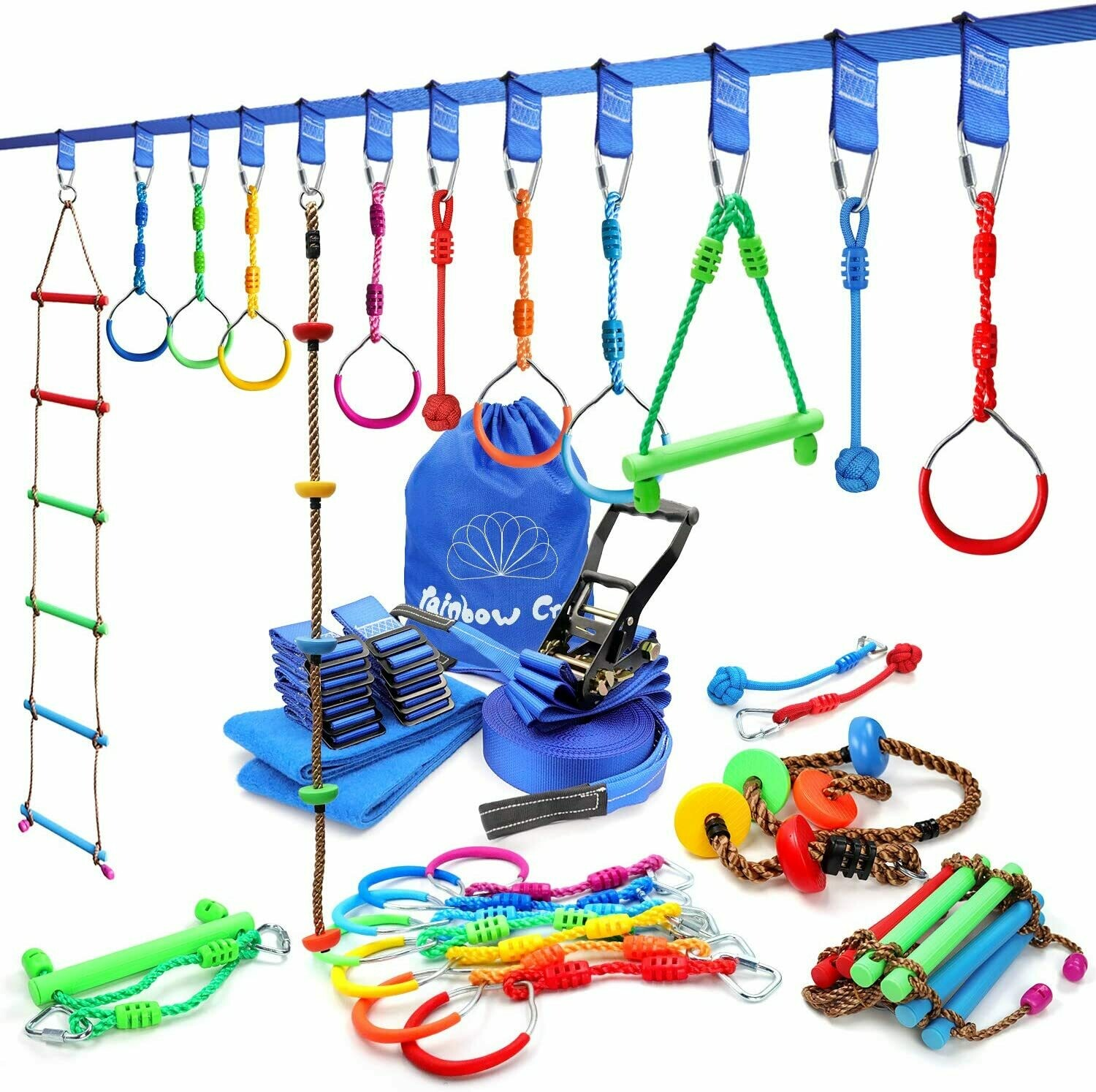 7pc Obstacle Course for Kids Backyard Training- High Strength Towing Strap Grade Ninja line