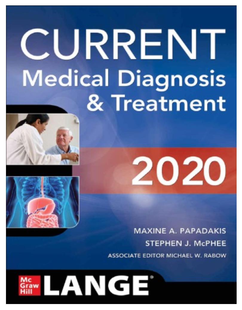 CURRENT Medical Diagnosis & Treatment 2020 By Maxine A. Papadakis, Stephen J. McPhee, Michael W. Rabow [ Ebook] PDF - Printable
