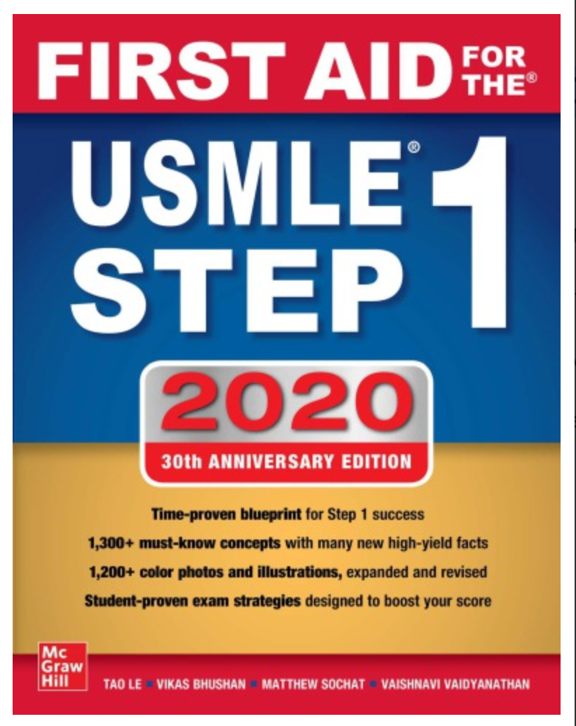 First Aid for the USMLE Step 1 2020, 30th Anniversary Edition BY Tao Le, Vikas Bhushan [ EBOOK ] PDF