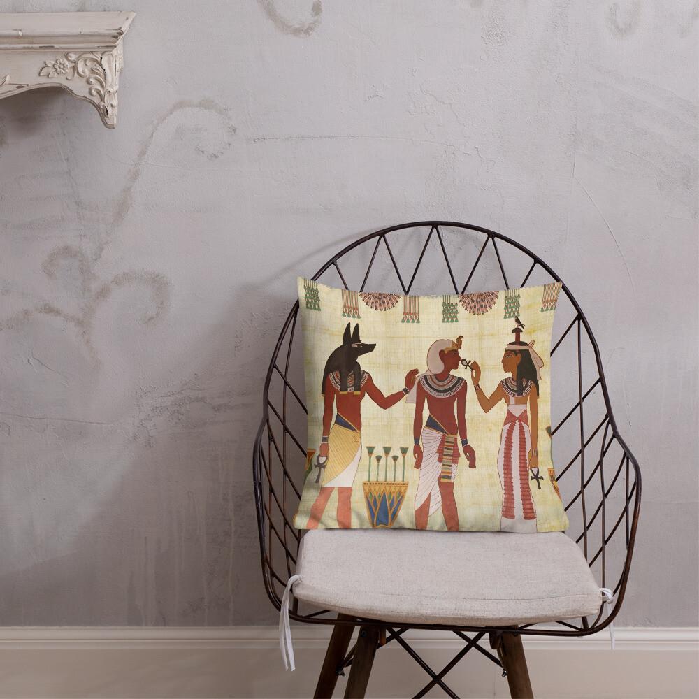 Egyptian Design Man Woman Priest Artifact Royal Premium Pillow