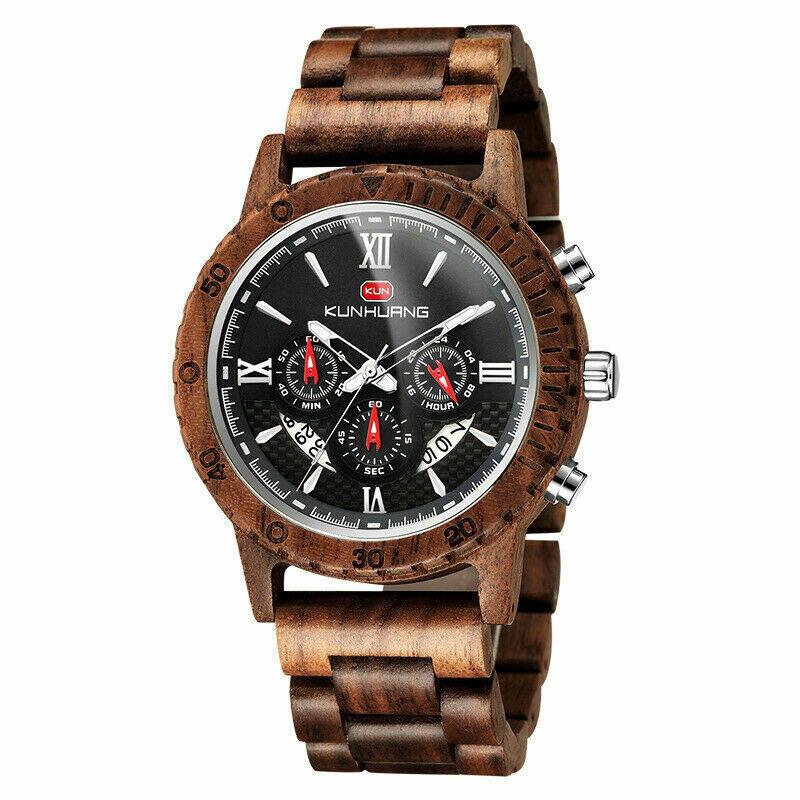 Wood Watch Wooden Quartz Date Display Men's Wristwatch gift for men