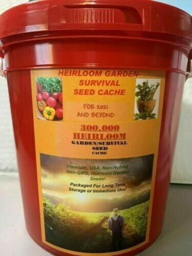 300,000 Garden Seeds 50 + Variety Garden Survival Heirloom Vegetable Seed Cache