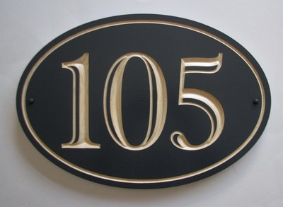 Custom Exterior Wood Oval House Number Sign