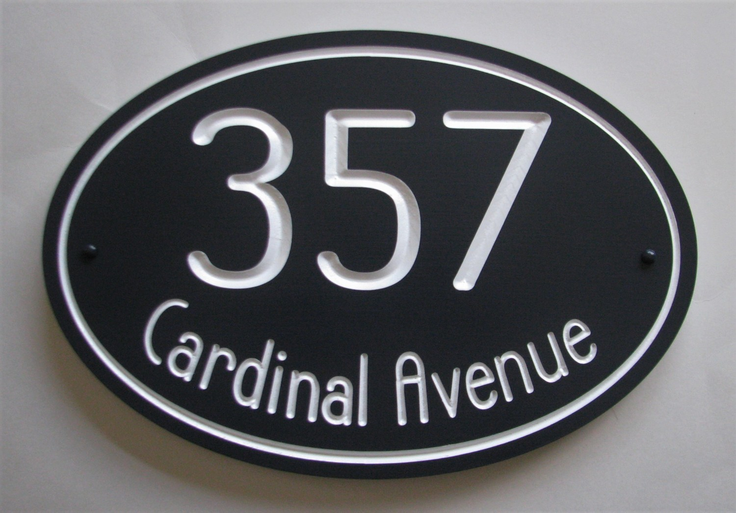 Oval Address Sign - Painted Wood House Number Address Sign - House Number Address Plaque - Street Name Sign