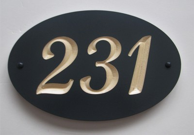 Custom Wood Oval House Number Sign