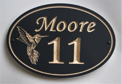 Exterior Oval Wood House Number Family Name Sign with Carved Hummingbird