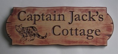 Personalized Rustic Stained Distressed Look Outdoor Wood Sign with Carved Cat