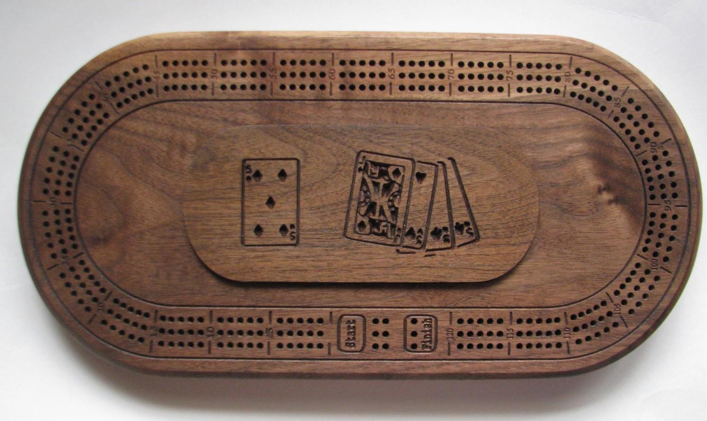 Oval Walnut Wood Cribbage Board