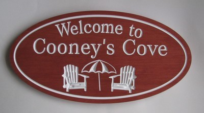 Custom Oval Wood Cottage Sign Camp Sign with Carved Chairs and Umbrella