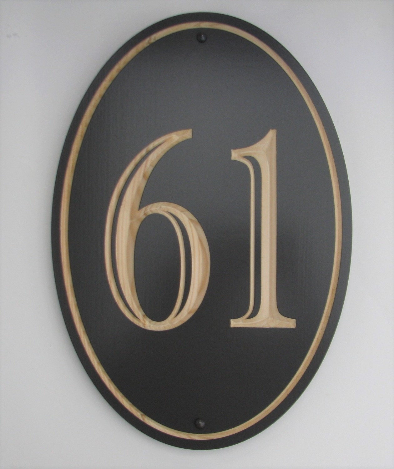 Custom Exterior Wood Oval Vertical House Number Sign