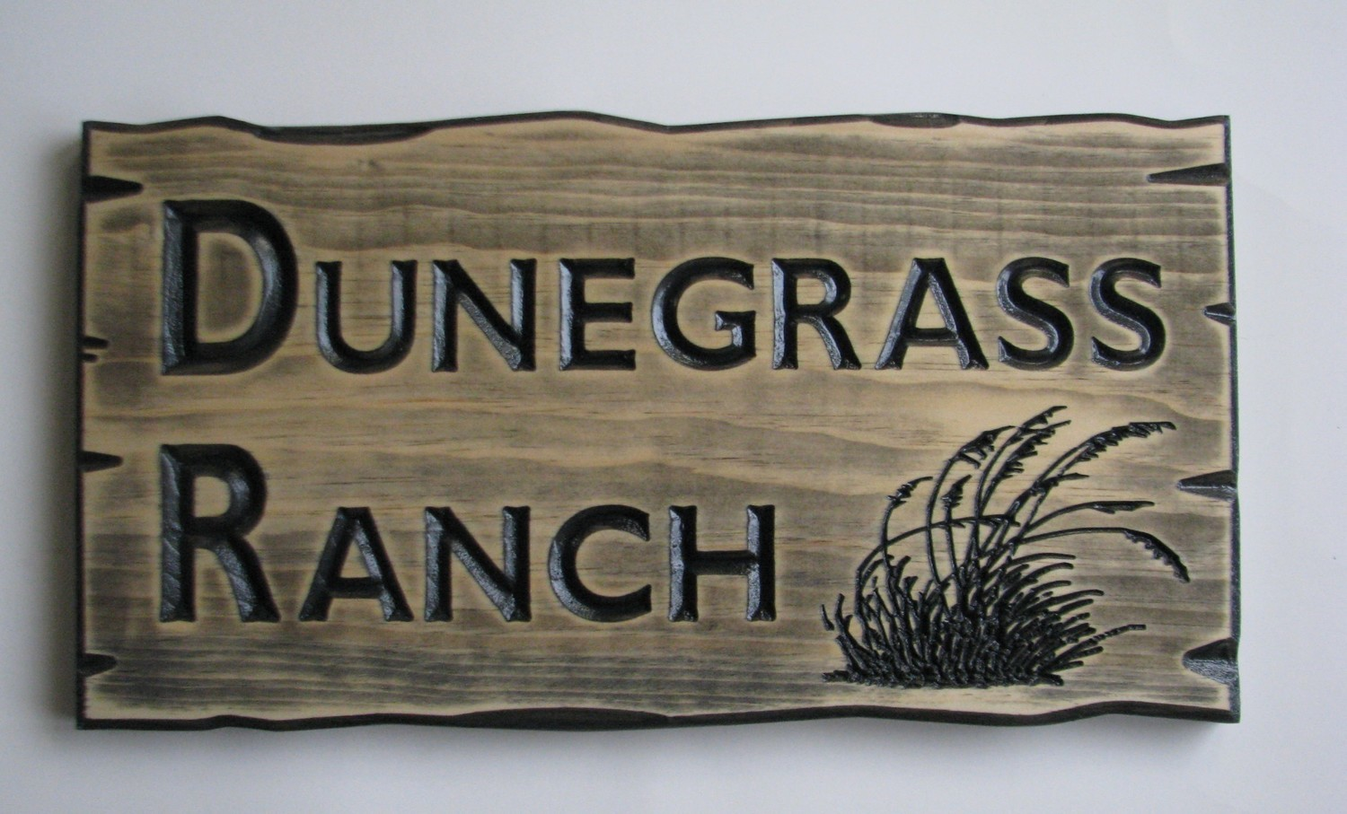 Customizable Wood Sign Rustic Cabin Sign Camp Sign Stained Distressed Look Sign with carved Dunegrass