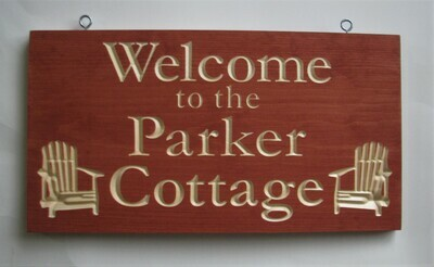 Custom Carved Stained Cottage/Camp Sign