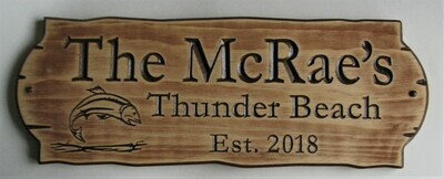Personalized Rustic Stained Distressed Look Outdoor Wood Sign with Carved Fish