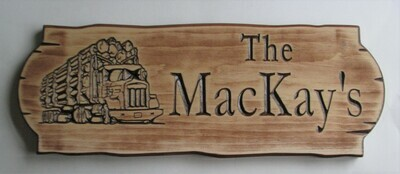 Personalized Rustic Stained Distressed Look Outdoor Wood Sign with Carved Logging Truck