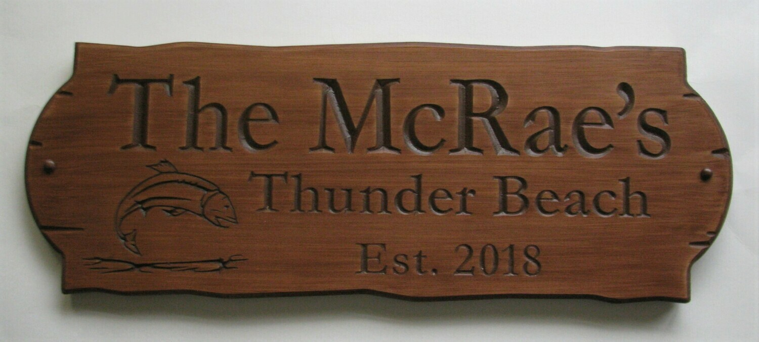 Personalized Rustic Stained Outdoor Wood Sign with Carved Fish