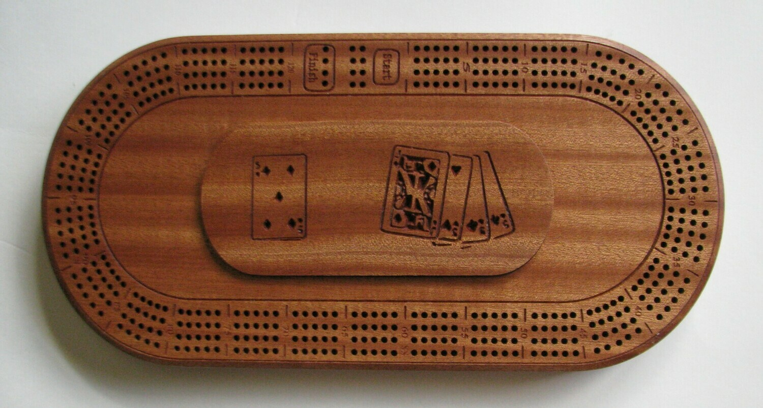 Oval African Mahogany/Sapele Wood 4 Track Cribbage Board