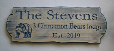 Personalized Rustic Stained Distressed Look Outdoor Wood Sign with Carved Bear
