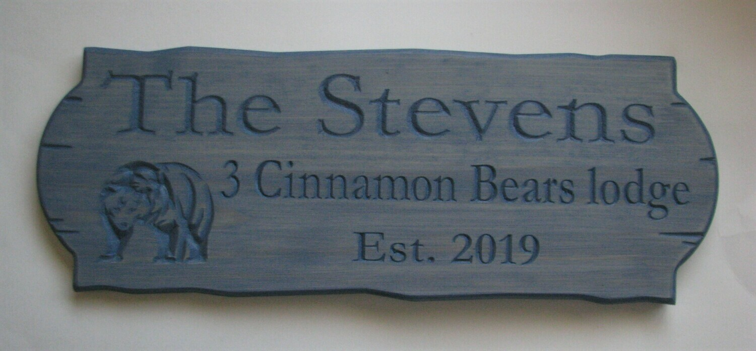 Personalized Rustic Stained Outdoor Wood Sign with Carved Bear