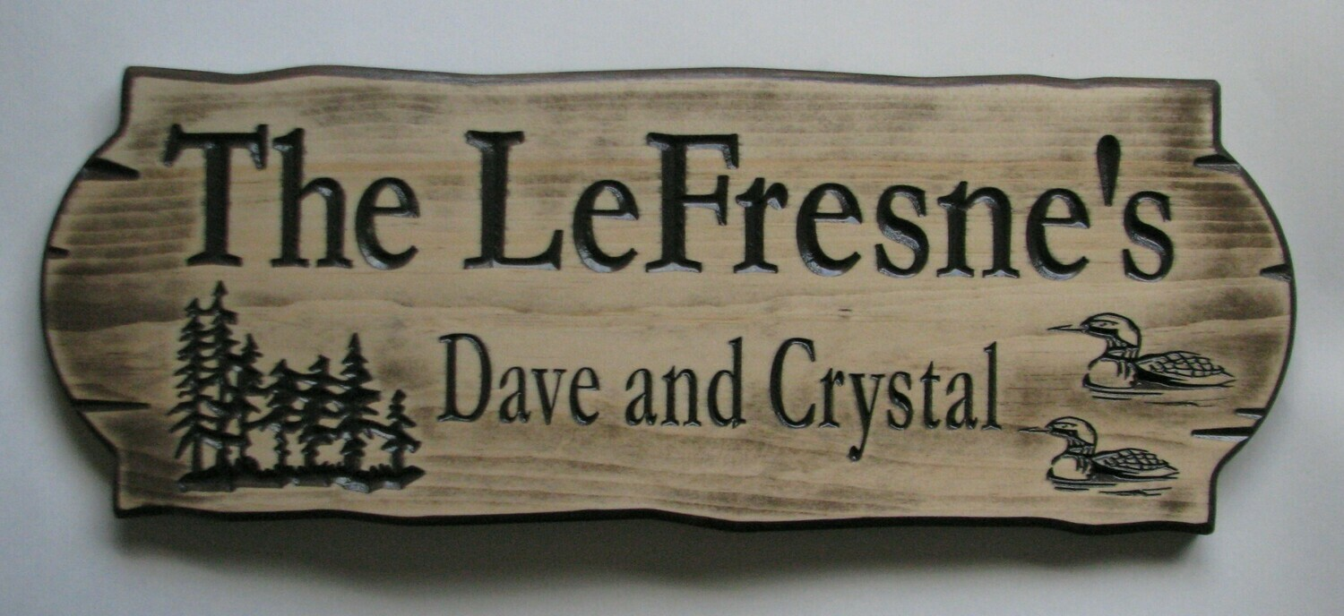 Personalized Rustic Stained Distressed Look Outdoor Wood Sign with Carved Trees and Loons