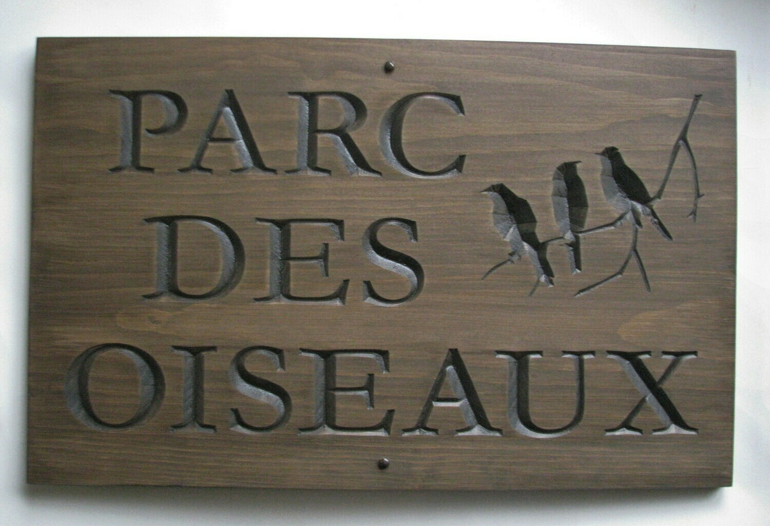 Large Rustic Stained Wood Camp Sign Cottage Sign with Carved Birds