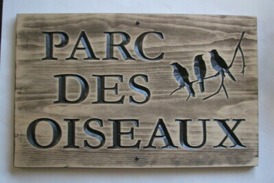 Large Rustic Stained Distressed Look Wood Camp Sign Cottage Sign with Carved Birds
