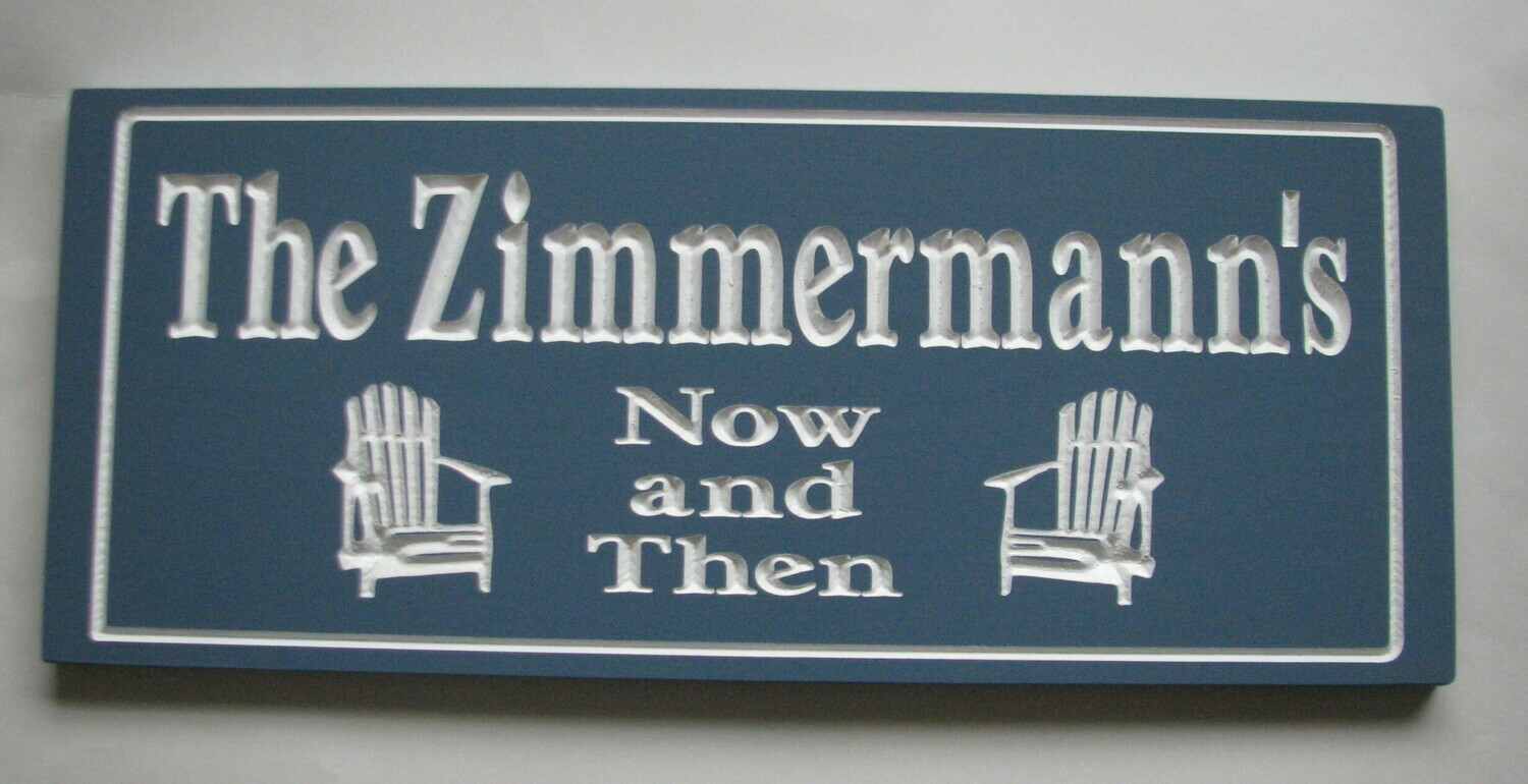 Custom Carved Wood Cottage Sign Camp Sign with Chairs