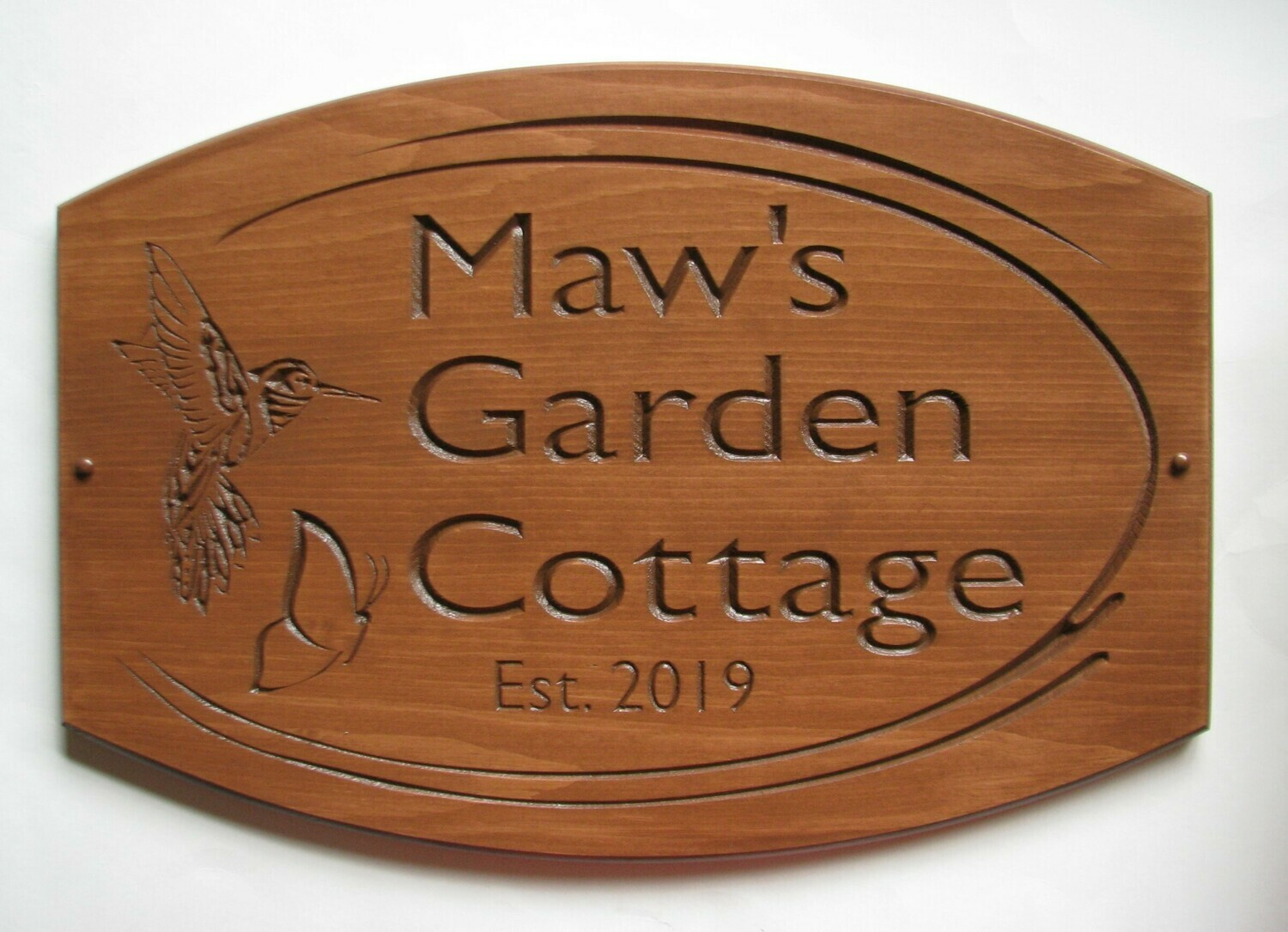 Large Rustic Stained Wood Camp Sign Cottage Sign with Carved Hummingbird/Butterfly
